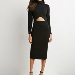 Black Mid Cut out Midi Bodycon Dress